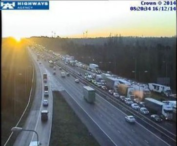M1 closure J16-J18 closure congestion 2
