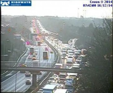 M1 closure J16-J18 closure congestion