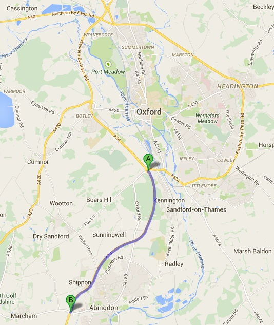 Map of the A34 closure