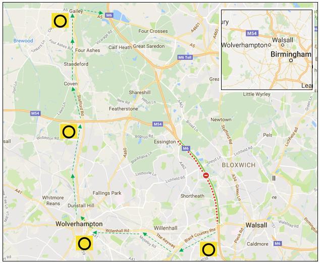 M6 Closure Northbound West Midlands Sunday 21 August 2016